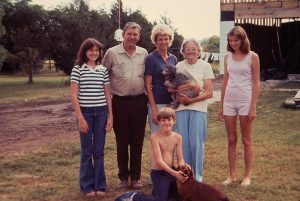 Nanny holding her dog, Pearlie. This was taken while she was living with us. Left to right: Me, Daddy, Momma, Nanny, and Tina with Brady and our dog, Buster in front.